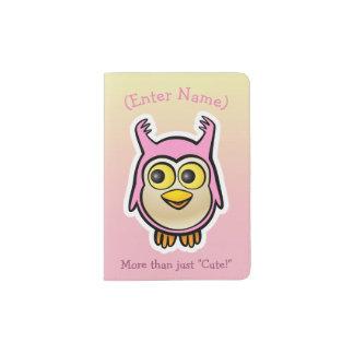 Cute Pink Baby Owl Cartoon Passport Holder