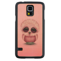 Cute Pink Baby Owl Chic Carved Maple Galaxy S5 Slim Case
