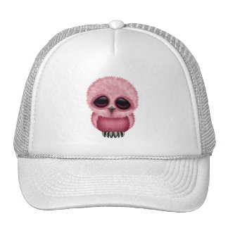 Cute Pink Baby Owl Chic Mesh Hats