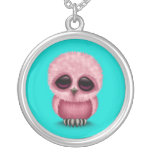 Cute Pink Baby Owl Chic on Blue Silver Plated Necklace
