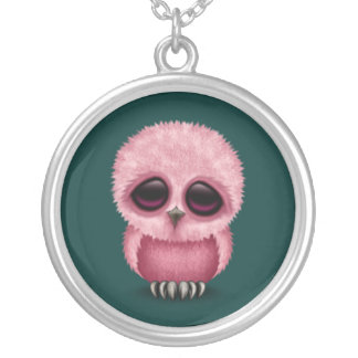 Cute Pink Baby Owl Chic on Teal Blue Silver Plated Necklace