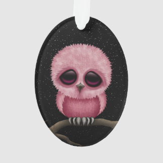 Cute Pink Baby Owl Chic with Stars Ornament