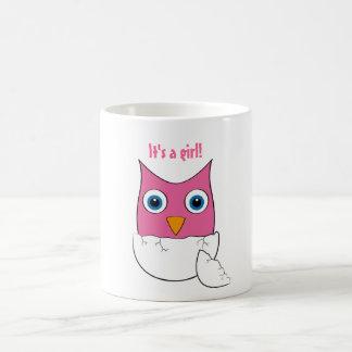 "Cute pink Baby Owl - ""It's a girl"" Coffee Mug"