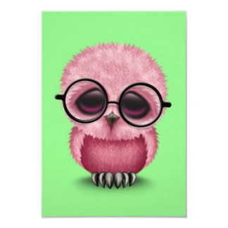 Cute Pink Baby Owl Wearing Glasses on Green Card