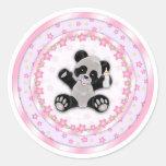Cute Pink Baby Panda Bear Seals Classic Round Sticker