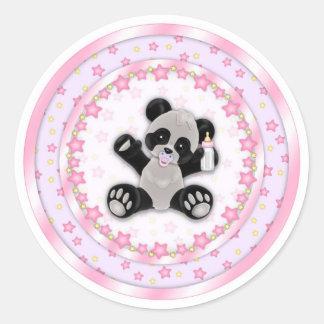 Cute Pink Baby Panda Bear Seals Sticker