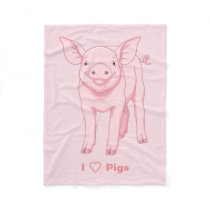 Cute Pink Baby Piglet Fleece Blanket