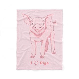 Cute Pink Baby Piglet Fleece Blanket
