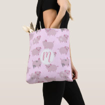 Cute Pink Baby Piglets Pattern & Dots Tote Bag