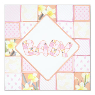 Cute Pink Baby Quilt Baby Girl Shower invitation