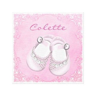 Cute Pink Baby Shoes Baby Girl Canvas Print