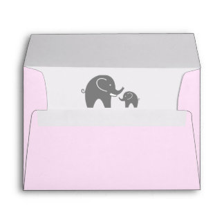 Cute pink baby shower envelopes with grey elephant