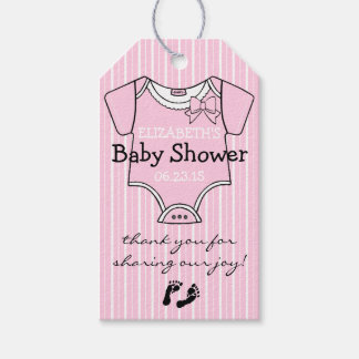 Cute Pink Baby Shower Guest Favor Thank You Pack Of Gift Tags