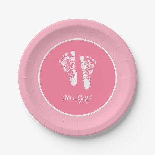 Cute Pink Baby Shower Newborn Girl Footprint Paper Plate