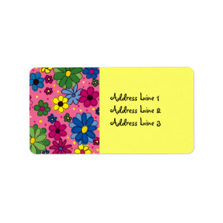 Cute Pink Background with Colorful Flowers Label