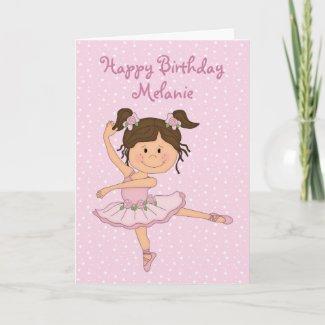 Cute Pink Ballerina 1 Birthday Card card