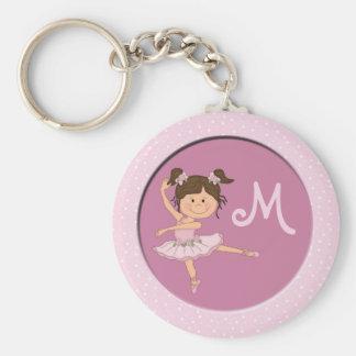 Cute Pink Ballerina 1 Custom Monogram Keychains