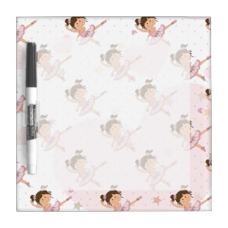 Cute Pink Ballerina 1 Pattern Hearts and Stars Dry-Erase Board