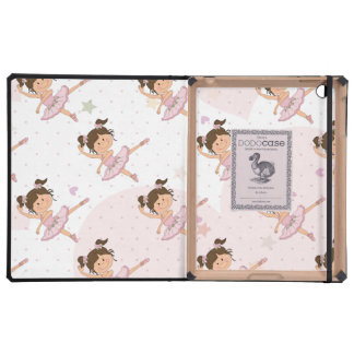 Cute Pink Ballerina 1 Pattern Hearts and Stars iPad Covers