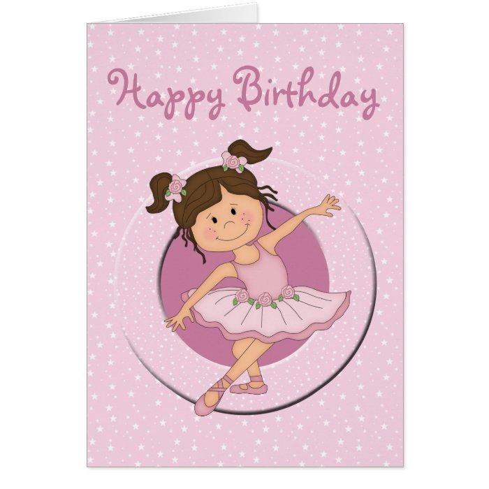 Cute Pink Ballerina 2 Happy Birthday Card