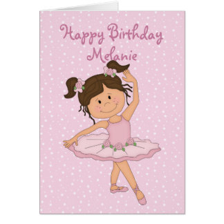 Cute Pink Ballerina 4 Birthday Card