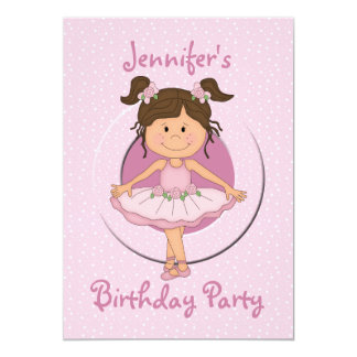 Cute Pink Ballerina Birthday Party 5x7 Paper Invitation Card