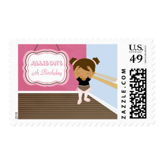 Cute pink ballerina girl birthday party stamps