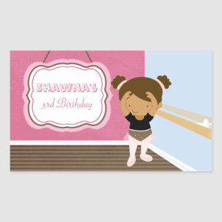 Cute pink ballerina girls birthday party stickers