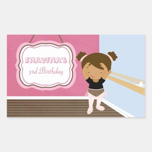 Cute pink ballerina girls birthday party stickers