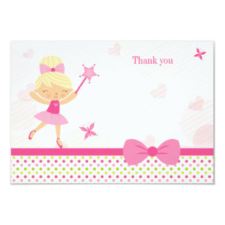 Cute pink ballerina girl's birthday thank you card