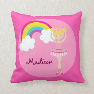 Cute Pink Ballet Girl Custom Throw Pillow