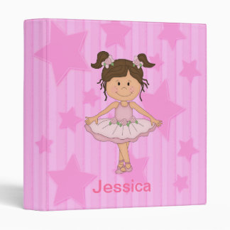 Cute Pink Ballet Girl On Stars and stripe 3 Ring Binder