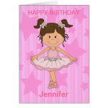 Cute Pink Ballet Girl On Stars and stripe Cards
