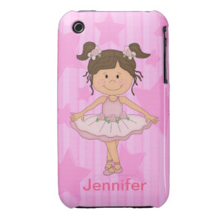 Cute Pink Ballet Girl On Stars and stripe iPhone 3 Case