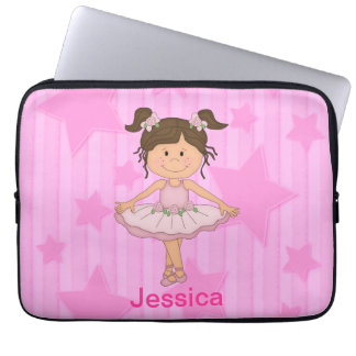 Cute Pink Ballet Girl On Stars and stripe Laptop Sleeve