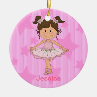 Cute Pink Ballet Girl On Stars and stripe Christmas Ornament