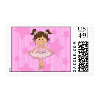 Cute Pink Ballet Girl On Stars and stripe Postage Stamp