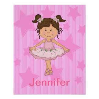 Cute Pink Ballet Girl On Stars and stripe Print