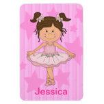 Cute Pink Ballet Girl On Stars and stripe Rectangular Magnets