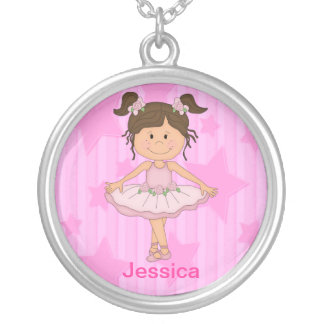 Cute Pink Ballet Girl On Stars and stripe Round Pendant Necklace