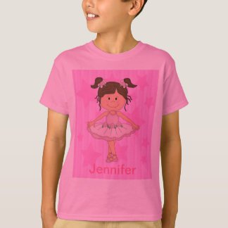 Cute Pink Ballet Girl On Stars and stripe T-Shirt