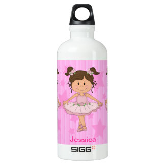 Cute Pink Ballet Girl On Stars and stripe Water Bottle
