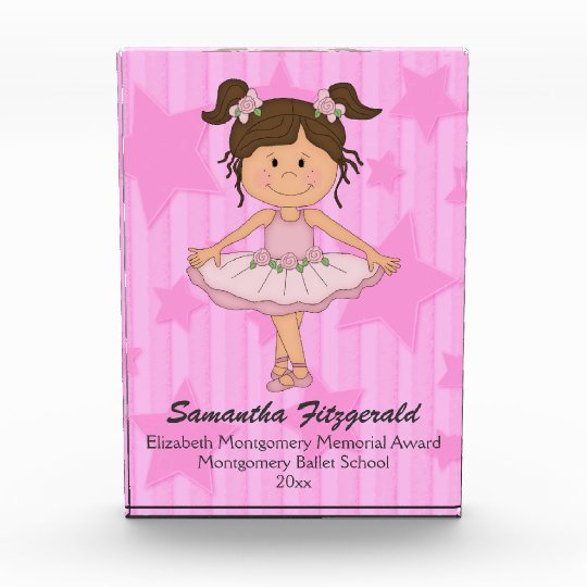 Cute Pink Ballet Girl On Stars and Stripes Award