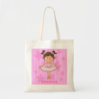 Cute Pink Ballet Girl On Stars and Stripes Budget Tote Bag