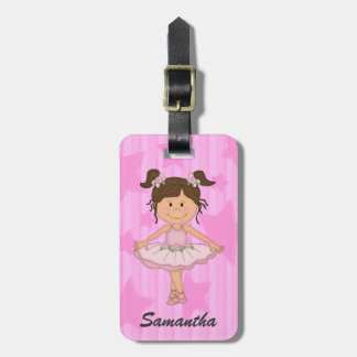 Cute Pink Ballet Girl On Stars and Stripes Bag Tag