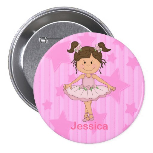 Cute Pink Ballet Girl On Stars and Stripes Button