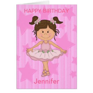 Cute Pink Ballet Girl On Stars and Stripes Card