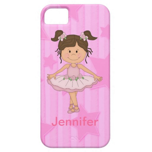 Cute Pink Ballet Girl On Stars and Stripes iPhone 5 Cover