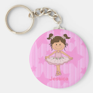 Cute Pink Ballet Girl On Stars and Stripes Key Chain