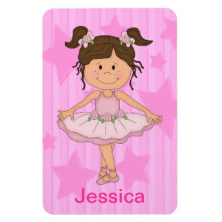 Cute Pink Ballet Girl On Stars and Stripes Magnet